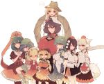 6+girls aki_minoriko aki_shizuha animal_ears black_hair blonde_hair blue_eyes blue_hair blush boots breasts bura collared_shirt cowboy_shot detached_sleeves dress food_themed_hair_ornament frog_hair_ornament gohei grape_hair_ornament green_hair hair_bobbles hair_ornament hair_tubes hand_on_another's_head hand_on_headwear hand_to_own_mouth hands_clasped hat highres inubashiri_momiji kagiyama_hina kawashiro_nitori kochiya_sanae large_breasts leaf leaf_fan leaf_hair_ornament leaf_print locked_arms long_hair looking_at_viewer maple_leaf mirror mob_cap moriya_suwako mountain_of_faith multiple_girls neck_ribbon nontraditional_miko on_head one_eye_closed open_mouth over_shoulder person_on_head pom_pom_(clothes) pyonta red_eyes ribbon rope shameimaru_aya shield shimenawa shirt short_hair siblings simple_background sisters skirt snake_hair_ornament sword sword_over_shoulder tail tokin_hat touhou turtleneck weapon weapon_over_shoulder white_background white_hair wide_sleeves wolf_ears wolf_tail wristband yasaka_kanako yellow_eyes
