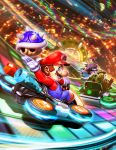 3boys armor blue_eyes blue_shell brown_hair crossover facial_hair genzoman halo_(game) hat helmet kart male_focus mario mario_(series) mario_kart master_chief multiple_boys mustache nathan_drake nintendo short_hair smile sony super_smash_bros.
