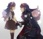 2girls blue_eyes blue_hair cape child crying fingerless_gloves fire_emblem fire_emblem:_kakusei fire_emblem_13 fire_emblem_awakening fire_emblem_heroes gloves hair_ornament hand_holding intelligent_systems long_hair lucina multiple_girls nintendo smile super_smash_bros. tears teenage tiara time_paradox young_adult