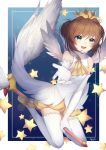 1girl brown_hair card_captor_sakura crown egg_(rxlal) fuuin_no_tsue gloves green_eyes highres kinomoto_sakura open_mouth outstretched_hand puffy_shorts shorts smile star thigh-highs white_gloves white_legwear wings