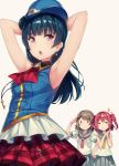 >:) 3girls :o =_= armpits arms_behind_head ascot bangs beige_background blue_hair blush_stickers buttons collared_shirt commentary_request double-breasted earrings female_service_cap grey_hair hand_on_hip hands_together happy_party_train highres jewelry key_necklace kurosawa_ruby long_hair love_live! love_live!_sunshine!! multiple_girls pleated_skirt redhead salute school_uniform serafuku shirt short_hair short_sleeves side_bun simple_background siva_(executor) skirt sleeveless smile sparkle tie_clip tsushima_yoshiko two_side_up violet_eyes watanabe_you
