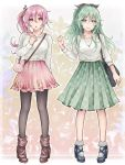 2girls :o akira_(aky-la) alternate_costume ankle_boots aqua_eyes aqua_hair arm_at_side artist_name asymmetrical_hair bag black_boots black_legwear black_ribbon blouse blue_shoes blush boots breasts casual collarbone comic commentary_request eyebrows_visible_through_hair floral_background floral_print frilled_skirt frills full_body green_skirt hair_between_eyes hair_ornament hair_ribbon hairclip handbag harusame_(kantai_collection) high_heel_boots high_heels highres jewelry kantai_collection long_hair long_skirt long_sleeves medium_breasts medium_skirt multiple_girls necklace no_headgear open_mouth over_shoulder pantyhose pendant pigeon-toed pink_hair pink_skirt plaid plaid_bag pleated_skirt ponytail red_eyes ribbon shoes side_ponytail skirt socks standing white_legwear yamakaze_(kantai_collection)
