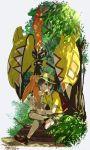 1boy bangs black_hair eating food_in_mouth full_body grass green_eyes hat legs_crossed looking_at_viewer malasada male_focus male_protagonist_(pokemon_sm) natsuno_hamuto pokemon pokemon_(creature) pokemon_(game) pokemon_sm shirt shoes short_hair shorts signature sneakers swept_bangs t-shirt tapu_koko tree tree_shade z-ring
