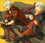 blue_eyes couch dante devil_bringer devil_may_cry male nero_(devil_may_cry) nessie playing_games playstation_3 ps3 sitting video_game white_hair