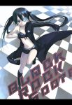 black_hair black_rock_shooter black_rock_shooter_(character) blue_eyes boots checkerboard checkered engrish front-tie_top gloves hoodie hotpants kodamasawa_izumi midriff pale_skin ranguage short_shorts shorts star twintails uneven_twintails