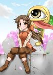 boots breast_squeeze breasts brown_eyes brown_hair cherry_blossoms dou-t holly holly_(monster_farm) holly_(monster_rancher) long_hair monster_farm monster_rancher ponytail sack smile suezo tongue