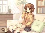 adjusting_hair blush book brown_eyes brown_hair checkerboard_cookie coffee cookie couch cup cushion flower_pot food hooded_jacket hoodie kneehighs knees meito_(maze) mug original pillow pillows plant school_uniform short_hair sitting skirt socks solo wind window