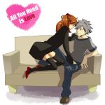 1girl couch couple grey_hair jeans nagisa_kaworu neon_genesis_evangelion orange_hair red_eyes regain rigein shoes souryuu_asuka_langley t-shirt thigh-highs thighhighs