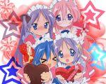 1280x1024 chocolate heart hiiragi_kagami hiiragi_tsukasa izumi_konata lucky_star maid stars takara_miyuki tsundere valentine wallpaper