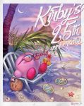 absurdres anniversary beach blush_stickers chair character_name crescent_moon drinking_straw furan highres king_dedede kirby kirby_(series) mahoroa maxim_tomato meta_knight moon palm_tree sandals solo starfish sunglasses tree waddle_dee