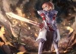 >:d 1girl armor bangs battlefield blonde_hair blurry braid breastplate clarent clouds cloudy_sky corpse depth_of_field fate/apocrypha fate/grand_order fate_(series) faulds feet_out_of_frame fire flaming_sword french_braid from_below full_armor gauntlets green_eyes hair_between_eyes holding holding_sword holding_weapon knight legs_apart loincloth long_hair looking_away looking_to_the_side mordred_(fate) mordred_(fate)_(all) open_mouth outdoors parted_lips planted_sword planted_weapon ponytail revision shield short_hair shoulder_armor sishenfan sky smile solo_focus spaulders standing sword teeth vambraces weapon