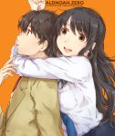1boy 1girl :d aldnoah.zero black_hair blazer blue_necktie breast_press breasts brother_and_sister brown_eyes brown_hair choke_hold copyright_name english eyebrows_visible_through_hair from_side hug hug_from_behind jacket kaizuka_inaho kaizuka_yuki long_hair medium_breasts necktie open_mouth orange_background red_necktie school_uniform shirt siblings simple_background smile strangling takagi_hideaki tongue tongue_out upper_body white_shirt