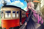 1girl black_serafuku black_skirt blue_sky clouds cloudy_sky day ground_vehicle holding_bag long_hair long_skirt looking_at_viewer neckerchief outdoors pink_eyes pleated_skirt purple_hair reisen_udongein_inaba sailor_collar school_uniform serafuku skirt sky smile solo standing touhou train train_station very_long_hair yuuka_nonoko