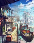 boat chong_feigiap cityscape clouds copyright_request crane day highres long_hair no_humans outdoors power_lines revision scenery sky smoke standing watercraft