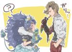 1boy 1girl ? animal_ears ankh_(ooo) blonde_hair blue_eyes blue_gloves blue_hair commentary_request company_connection crossover cure_gelato earrings eating extra_ears female food from_side gloves hand_in_pocket ice_cream jacket jewelry kamen_rider kamen_rider_ooo_(series) kirakira_precure_a_la_mode leather leather_jacket lion_ears lion_tail long_hair looking_at_another magical_girl male open_mouth pants popsicle precure profile red_pants shirt short_sleeves spoken_question_mark tail tategami_aoi text touei