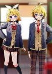 1boy 1girl ahoge arm_at_side black_legwear blazer blonde_hair blue_eyes blurry blurry_background bow bowtie brother_and_sister brown_pants brown_skirt buttons cardigan closed_mouth collared_shirt hair_between_eyes hair_ribbon headphones indoors jacket kagamine_len kagamine_rin kneehighs long_sleeves looking_at_another miniskirt necktie pants plaid plaid_pants plaid_skirt pleated_skirt red_bow red_bowtie red_necktie ribbon school_uniform shirt siblings skirt smile twins vocaloid white_ribbon white_shirt wing_collar yuuka_nonoko