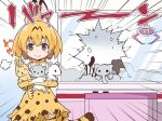 1girl animal_ears blonde_hair blush broken_glass brown_eyes crane_game emphasis_lines glass kemono_friends looking_at_viewer rioshi serval_(kemono_friends) serval_ears serval_print serval_tail smile solo striped_tail stuffed_animal stuffed_toy tail