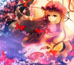 1girl blonde_hair bow cherry_blossoms dress elbow_gloves eyes fan frilled_dress frilled_hat frills gloves hair_between_eyes hair_bow hat hat_ribbon long_hair looking_at_viewer mob_cap multi-tied_hair nagare parasol pink_hat pink_umbrella puffy_short_sleeves puffy_sleeves purple_dress red_bow red_ribbon ribbon short_sleeves smile solo touhou umbrella very_long_hair violet_eyes yakumo_yukari