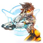 1girl ass bodysuit bomber_jacket brown_jacket commentary cross-laced_legwear ddhew goggles grin gun handgun holding holding_gun holding_weapon jacket orange_bodysuit overwatch pistol salute sleeves_pushed_up smile solo spiky_hair tracer_(overwatch) two-finger_salute weapon