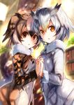2girls amamitsu_kousuke bangs bookshelf brown_eyes brown_hair chestnut_mouth commentary_request day eurasian_eagle_owl_(kemono_friends) eyebrows_visible_through_hair feathered_wings from_side fur_trim hair_between_eyes hand_holding head_wings interlocked_fingers jacket kemono_friends long_sleeves looking_at_viewer multiple_girls northern_white-faced_owl_(kemono_friends) open_mouth orange_eyes short_hair silver_hair sunlight symmetrical_hand_pose tree upper_body wings