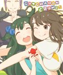 1boy 2girls :d ;q ^_^ animal animal_on_shoulder bird_hair_ornament black_cat breasts brown_eyes brown_hair cat cat_on_shoulder cheek-to-cheek choker closed_eyes collarbone copyright_name gatchaman_crowds glomp green_hair hair_flaps hair_ornament happy holding hug ichinose_hajime large_breasts lipstick long_hair looking_at_another makeup multiple_girls o.d. one_eye_closed open_mouth origami outline outstretched_arms parted_lips purple_hair school_uniform short_hair sleeveless smile takagi_hideaki tongue tongue_out utsutsu white_background yellow_lipstick yellow_sclera