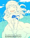 1girl :d ^_^ aldnoah.zero alternate_hairstyle blue_ribbon blush braid capelet character_name closed_eyes copyright_name day dress eddelrittuo eyebrows_visible_through_hair fur_trim hair_down happy holding leaning_forward long_sleeves open_mouth outdoors own_hands_together ribbon short_hair smile solo spot_color takagi_hideaki v_arms wind wind_turbine windmill