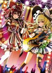 2girls alternate_costume black_gloves blonde_hair bow braid brown_hair dress electric_guitar fingerless_gloves flower gloves guitar hair_bow hair_flower hair_ornament hair_tubes hakurei_reimu hat hat_bow idol instrument kirisame_marisa licking_lips long_hair looking_at_viewer microphone multiple_girls pointing red_bow red_dress red_eyes sash side_braid sidelocks skirt smile star tongue tongue_out touhou white_bow witch_hat yellow_eyes yuuka_nonoko