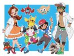 1girl 2boys djmn_c hanako_(pokemon) kukui_(pokemon) litten mr._mime multiple_boys pikachu pokemon pokemon_(anime) pokemon_(game) pokemon_sm pokemon_sm_(anime) rockruff rotom_dex rowlet satoshi_(pokemon)