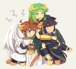 1girl 2boys angel bare_shoulders black_hair blue_eyes blush bracer breasts brown_hair cute dark_pit goddess green_eyes green_hair jewelry kid_icarus kid_icarus_uprising long_hair multiple_boys necklace nintendo open_mouth palutena palutena_no_kagami pit_(kid_icarus) red_eyes short_hair smile sora_(company) tiara very_long_hair wings wusagi2