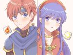 1boy 1girl armor blue_cape blue_eyes blue_hair blush cape capelet couple fire_emblem fire_emblem:_fuuin_no_tsurugi gameplay_mechanics hat headband hetero lilina long_hair open_mouth redhead roy_(fire_emblem) short_hair wspread