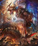 armor army artist_request claws cliff cygames destruction dragon dragon_rider dragon_wings fangs feathered_wings feathers horn magic_circle official_art open_mouth ouroboros_(shadowverse) scales shadowverse shingeki_no_bahamut sphere wings