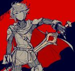 1boy artist_request cosplay falchion_(fire_emblem) fingerless_gloves fire_emblem fire_emblem:_kakusei gloves highres link looking_at_viewer lucina lucina_(cosplay) male_focus monochrome pointy_ears short_hair solo super_smash_bros. sword the_legend_of_zelda the_legend_of_zelda:_twilight_princess tiara weapon