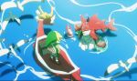 2boys bird blonde_hair boat fishman green_hat hat link male_focus monster_boy multiple_boys no-kan partially_submerged pointy_ears seagull shield sidon the_king_of_red_lions the_legend_of_zelda the_legend_of_zelda:_breath_of_the_wild the_legend_of_zelda:_the_wind_waker toon_link tunic watercraft