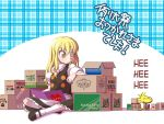 1girl ^_^ blonde_hair blue_background book bow box cardboard cardboard_box chamupei charles_schulz_(style) closed_eyes commentary_request hair_bow holding holding_book kirisame_marisa kneehighs long_hair looking_at_another open_mouth peanuts pink_bow plaid plaid_background sitting smile teeth text touhou translation_request white_legwear woodstock yellow_eyes