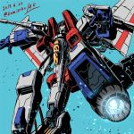 1boy 80s artist_name blue_background cannon dated decepticon full_body glowing insignia jet_boots kamizono_(spookyhouse) machine machinery male mecha mechanical_wings no_humans oldschool open_mouth personification red_eyes robot solo starscream teeth transformation transformers twitter_username weapon wings