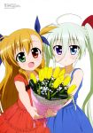 2girls :d absurdres ahoge bangs blue_dress blue_eyes blue_ribbon blush bouquet bow braid child cowboy_shot dress duplicate einhart_stratos flat_chest flower foreshortening formal french_braid frilled_dress frills giving green_eyes hair_between_eyes hair_bow hair_ribbon happy head_tilt highres holding holding_bouquet jewelry long_hair looking_at_viewer lyrical_nanoha mahou_shoujo_lyrical_nanoha_vivid megami megami_deluxe multicolored_eyes multiple_girls necklace official_art open_mouth orange_hair outstretched_arm parted_lips pink_ribbon red_bow red_dress red_eyes ribbon scan short_sleeves side-by-side sidelocks sleeveless sleeveless_dress smile standing transparent tulip twintails two_side_up very_long_hair violet_eyes vivio white_hair yamano_masaaki