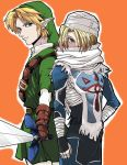 1boy 1girl androgynous artist_request blonde_hair blue_eyes hat link mask master_sword pointy_ears red_eyes reverse_trap sheik sword the_legend_of_zelda the_legend_of_zelda:_ocarina_of_time weapon