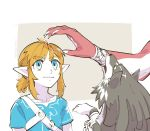 2boys biting blonde_hair blue_eyes fishman link link_(wolf) male_focus mojaranmo monster_boy multiple_boys pointy_ears ponytail sidon the_legend_of_zelda the_legend_of_zelda:_breath_of_the_wild the_legend_of_zelda:_twilight_princess wolf zora