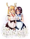 2girls :d agnam_ore alternate_costume apron bare_shoulders blonde_hair blue_eyes blush breasts detached_collar elbow_gloves elma_(maidragon) embarrassed enmaided eyebrows_visible_through_hair fang flower flower_request gloves hand_on_another's_shoulder heart heart_hands heart_hands_duo highres horn horn_ribbon horns kobayashi-san_chi_no_maidragon large_breasts long_hair looking_at_viewer maid maid_headdress multiple_girls necktie open_mouth orange_eyes purple_hair ribbon ribbon-trimmed_gloves ribbon_trim short_hair simple_background sleeveless smile tintin tooru_(maidragon) waist_apron white_background white_gloves wrist_cuffs