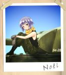 1girl absurdres black_tank_top blue_sky boots brown_eyes character_name gloves ground_vehicle hands_on_legs highres kannagi_noel military military_uniform military_vehicle motor_vehicle mysmys photo_(object) scarf short_hair silver_hair sitting sky sora_no_woto tank tank_top tape uniform wooden_wall