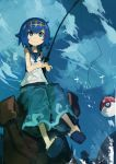 1girl absurdres baggy_pants blue_eyes blue_hair blue_sky clouds fishing_rod full_body hairband highres kaamin_(mariarose753) pants poke_ball pokemon pokemon_(game) pokemon_sm shirt sitting sky sleeveless sleeveless_shirt slippers smile solo suiren_(pokemon) swimsuit swimsuit_under_clothes trial_captain white_pupils