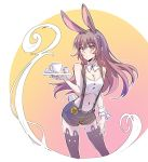 1girl animal_ears bare_shoulders blush bow bowtie breasts brown_eyes brown_hair bunny_girl bunny_tail buttons cleavage commentary_request cream cup iesupa long_hair looking_at_viewer medium_breasts navel rabbit_ears rwby shorts solo standing sugar_cube suspender_shorts suspenders tail teacup tray velvet_scarlatina waitress