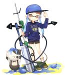 1girl arm_up baseball_cap bike_shorts blue_hair brown_eyes cat domino_mask hand_on_headwear hat highres inkling long_hair mask pointy_ears shirt shoes shorts smile socks splatoon sprbouuz tentacle_hair twintails water_balloon weapon