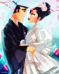 1boy 1girl arm_around_waist ashi_(samurai_jack) black_eyes black_hair bridal_veil bride couple eye_contact hetero highres husband_and_wife japanese_clothes kimono looking_at_another rotodisk samurai_jack samurai_jack_(character) short_hair smile spoilers thick_eyebrows topknot uchikake veil wedding