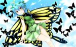 1girl antennae bangs bare_legs blue_hair blue_sky blush butterfly butterfly_wings cowboy_shot day dress etarnity_larva flying g_(desukingu) green_dress hair_between_eyes hair_ornament highres leaf_hair_ornament looking_at_viewer short_hair sky smile solo touhou wings yellow_eyes