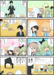 4koma aki_(girls_und_panzer) anchovy black_hair blonde_hair blue_eyes boko_(girls_und_panzer) bow brown_hair closed_eyes comic drill_hair fang formal girls_und_panzer glasses green_hair hair_bow hairband hat highres jinguu_(4839ms) katyusha kindergarten_uniform mika_(girls_und_panzer) mikko_(girls_und_panzer) necktie open_mouth orange_eyes ribbon shimada_arisu side_ponytail stuffed_animal stuffed_toy suit teddy_bear translation_request tsuji_renta twin_drills younger