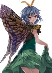 1girl :o antennae bangs bare_arms blue_hair brown_eyes butterfly_wings dress dress_lift e.o. etarnity_larva from_behind green_dress half-closed_eyes highres lifted_by_self looking_at_viewer looking_back short_hair simple_background sleeveless sleeveless_dress solo touhou white_background wings