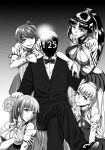 1boy 4girls armchair atago_(zhan_jian_shao_nyu) bangs bare_shoulders bow bowtie breasts chair choukai_(zhan_jian_shao_nyu) cleavage cleavage_cutout dated detached_sleeves faceless faceless_male finger_to_mouth formal greyscale hand_on_another's_head hand_on_another's_shoulder legs_crossed long_hair looking_at_viewer maya_(zhan_jian_shao_nyu) medium_breasts miniskirt monochrome multiple_girls parted_lips ponytail sitting skirt smie smile suit takao_(zhan_jian_shao_nyu) twintails very_long_hair xiexilai zhan_jian_shao_nyu