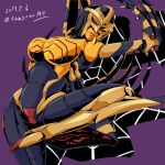 1girl 90s artist_name beast_wars blackarachnia breasts full_body high_heels insect_girl kamizono_(spookyhouse) large_breasts machine machinery maximal mecha no_humans oldschool open_mouth personification predacon purple_background red_eyes robot silk smile solo spider spider_girl spider_web transformers twitter_username