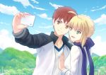 1boy 1girl :d ahoge blonde_hair blue_eyes bow brown_eyes cellphone emiya_shirou fate/stay_night fate_(series) fateline_alpha green_eyes hair_bow highres jacket open_mouth phone redhead saber scarf sidelocks smartphone smile